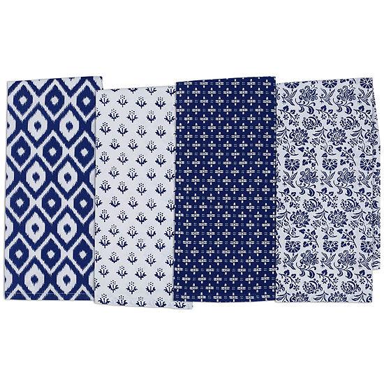 Design Imports Blue Market Set of 4 Assorted Kitchen Towels