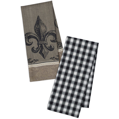 Design Imports Fleur De Lis Jacquard & Check Set of 4 Kitchen Towels