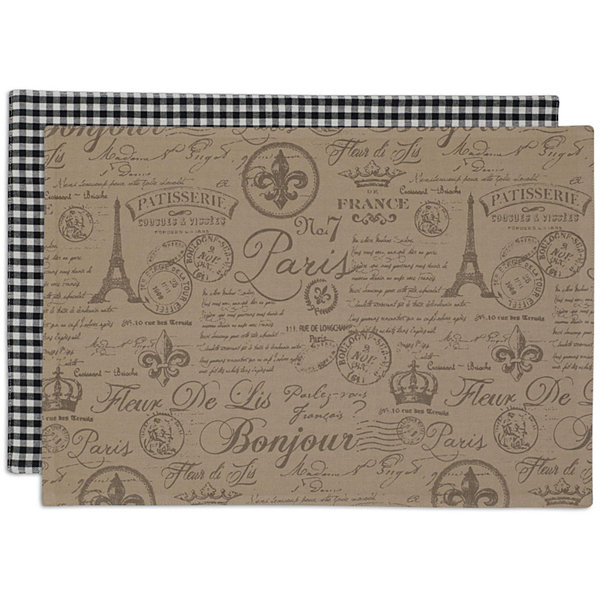 Design Imports French Flourish Set of 6 Reversible Placemats