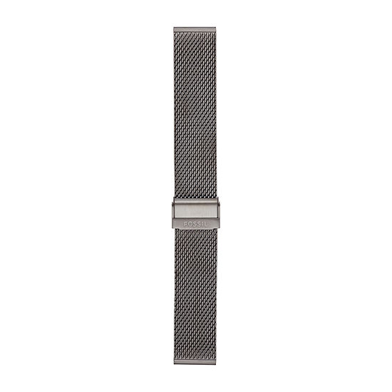 Fossil Smartwatches 22mm Smoke Steel Mesh Watch Bracelet Mens Gray Stainless Steel Watch Band-S221441