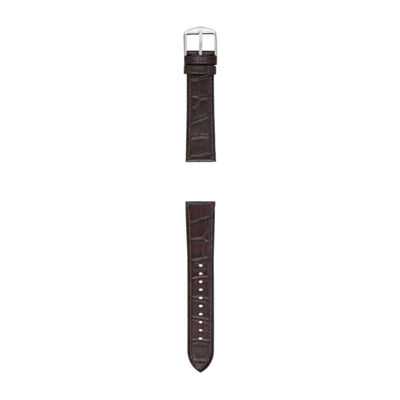 Fossil Q 22mm Dark Brown Croco Leather With Silicone Backing Watch Strap Mens Brown Watch Band-S221339