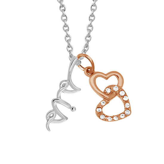 Sparkle Allure White Cubic Zirconia Pure Silver Over Brass 18 Inch Link Heart Pendant Necklace