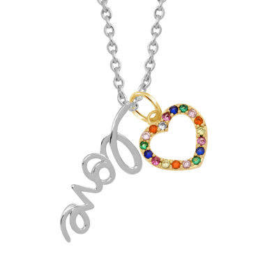 Sparkle Allure Womens Multi Color Stone Pure Silver Over Brass Heart Pendant Necklace