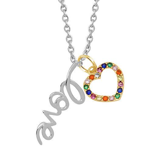 Sparkle Allure Multi Color Stone Pure Silver Over Brass 18 Inch Link Heart Pendant Necklace