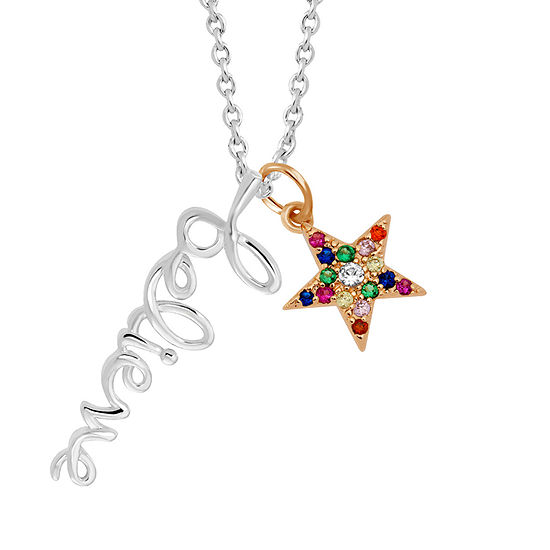 Sparkle Allure Multi Color Stone Pure Silver Over Brass 18 Inch Link Star Pendant Necklace