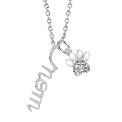 Sparkle Allure Womens White Cubic Zirconia Pure Silver Over Brass Pendant Necklace