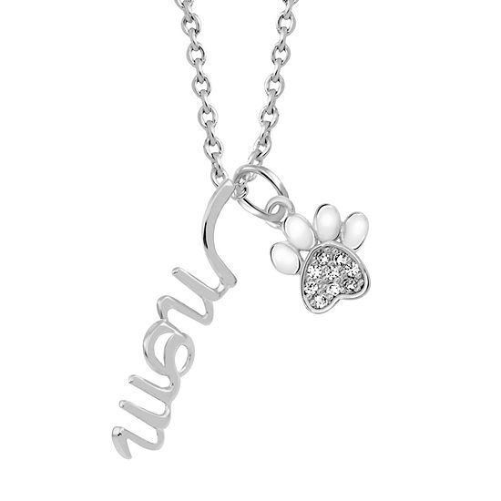 Sparkle Allure White Cubic Zirconia Pure Silver Over Brass 18 Inch Link Pendant Necklace