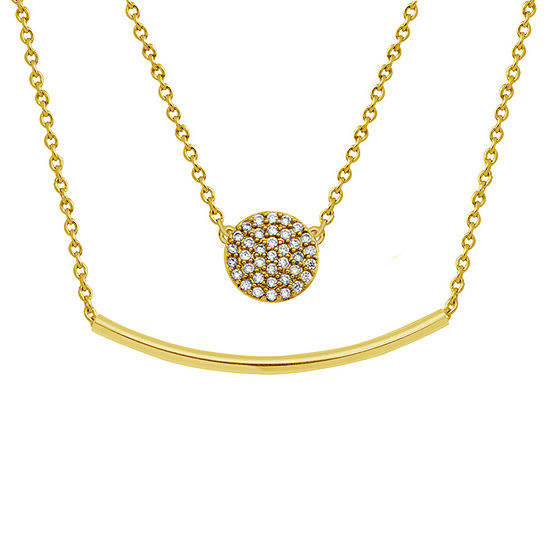 Sparkle Allure White Cubic Zirconia 14K Gold Over Brass 18 Inch Link Pendant Necklace