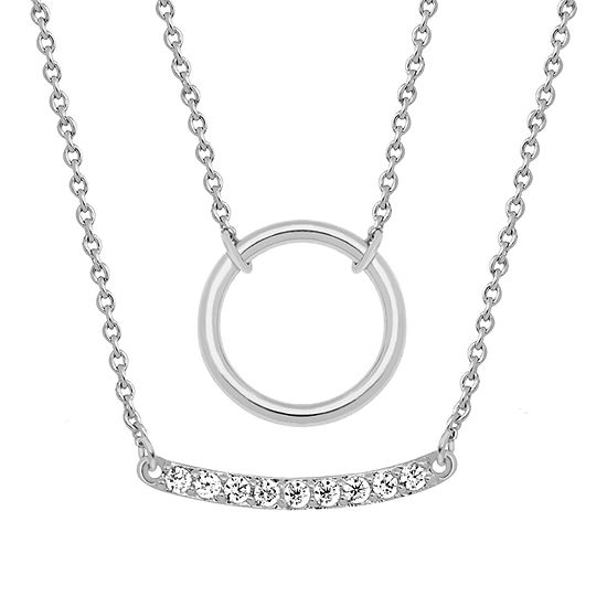 Sparkle Allure Womens White Cubic Zirconia Pure Silver Over Brass Pendant Necklace