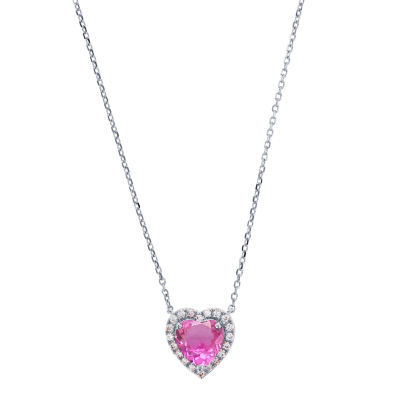 Womens Pink Sapphire Heart Pendant Necklace