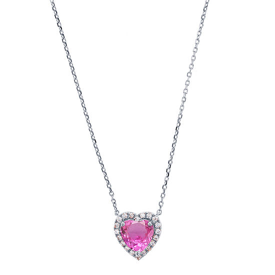 Womens Pink Sapphire Sterling Silver Heart Pendant Necklace