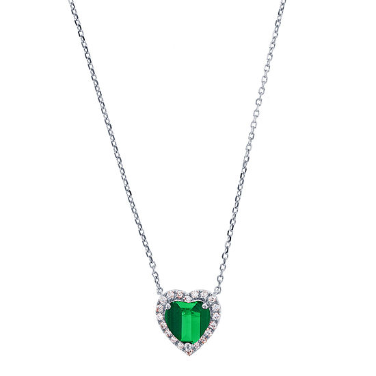 Womens Green Emerald Sterling Silver Heart Pendant Necklace