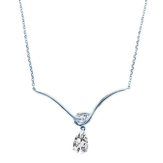Womens White Sapphire Sterling Silver Pear Pendant Necklace