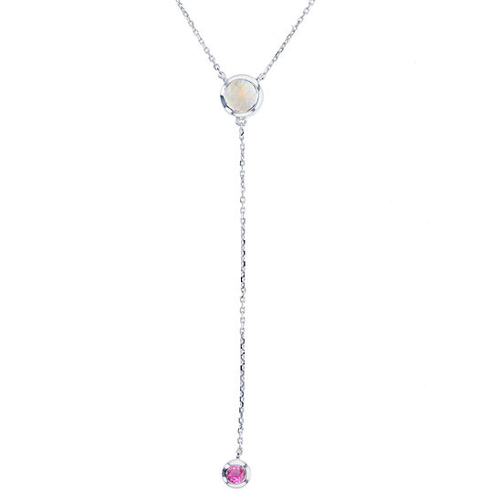 Womens Pink Sapphire Sterling Silver Y Necklace