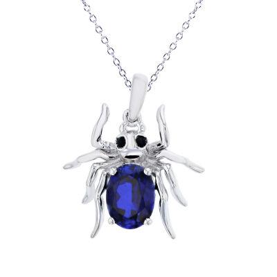 Womens Blue Sapphire Sterling Silver Pendant Necklace Set