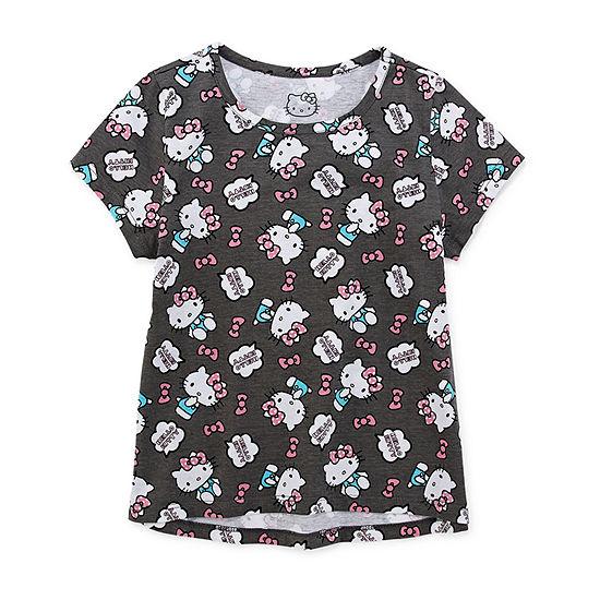 Hello Kitty - Little Kid / Big Kid Girls Crew Neck Hello Kitty Short Sleeve Graphic T-Shirt