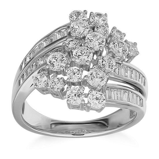 Womens 2 CT. T.W. Genuine White Diamond 10K White Gold Engagement Ring
