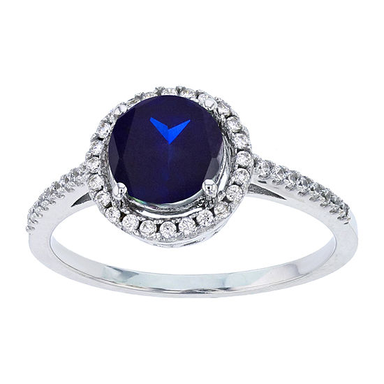 Womens Lab Created Blue Sapphire Sterling Silver Halo Engagement Ring