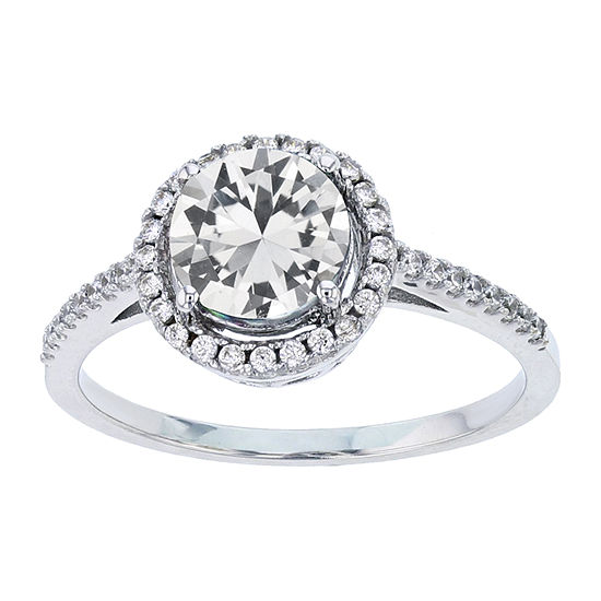 Womens Lab Created White Sapphire Sterling Silver Halo Engagement Ring