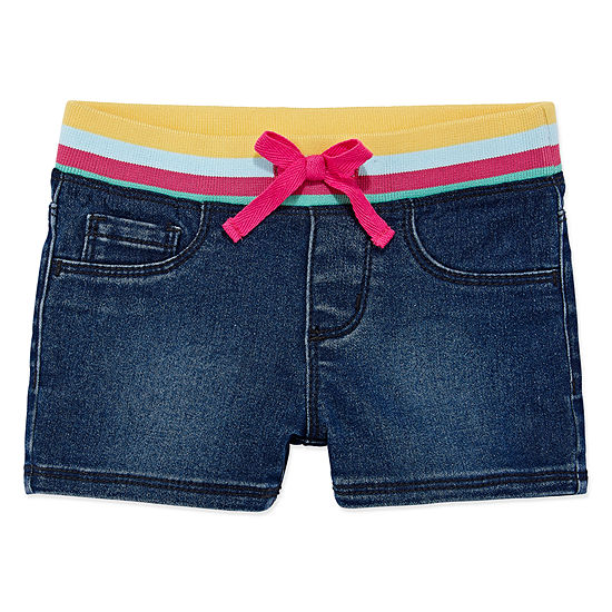 Okie Dokie Girls Drawstring Waist Denim Short - Toddler