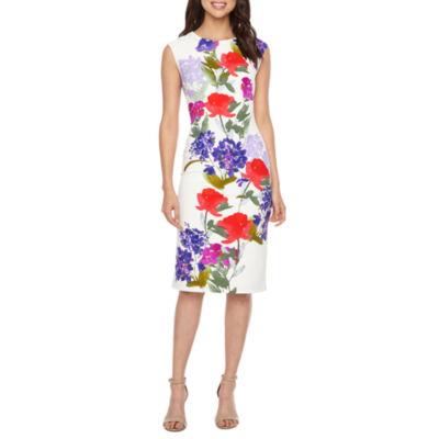 London Style Sleeveless Floral Sheath Dress