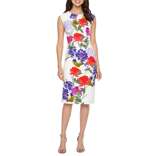 London Style Sleeveless Floral Sheath Dress