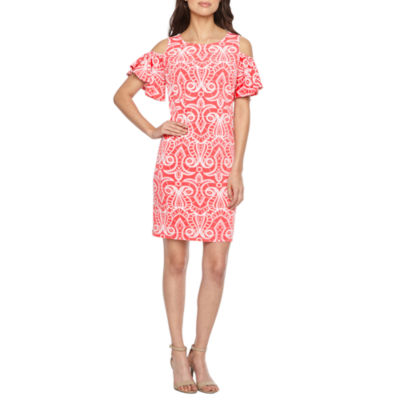 Ronni Nicole Short Sleeve Cold Shoulder Scroll Puff Print Shift Dress