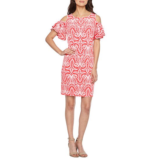 Ronni Nicole Short Sleeve Cold Shoulder Scroll Puff Print Shift Dress