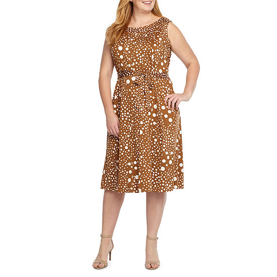 Perceptions Sleeveless Dots Fit & Flare Dress-Plus