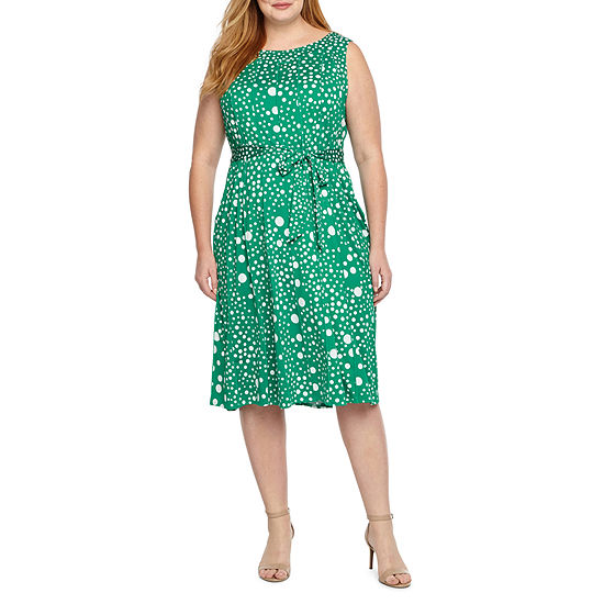 Perceptions Sleeveless Dots Fit Flare Dress Plus