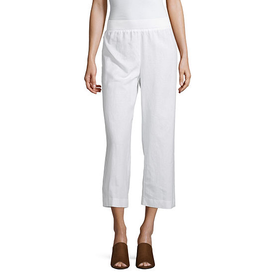Liz Claiborne Pull-On Wide Leg Linen Crop - Tall