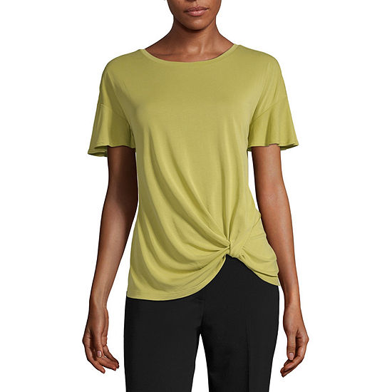 Worthington Sandwash Twist Front Tee - Tall