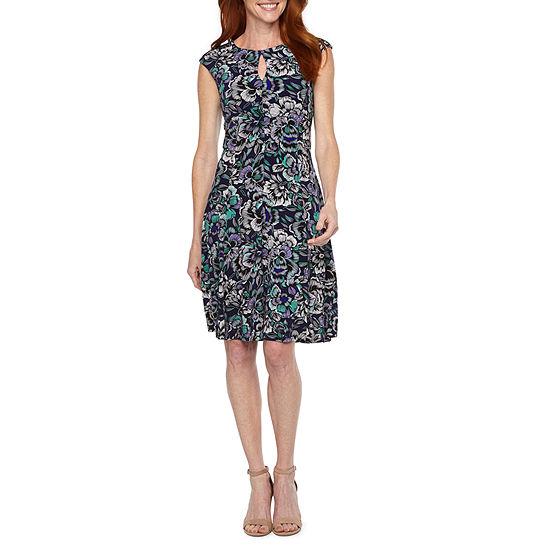Liz Claiborne Cap Sleeve Floral Fit & Flare Dress