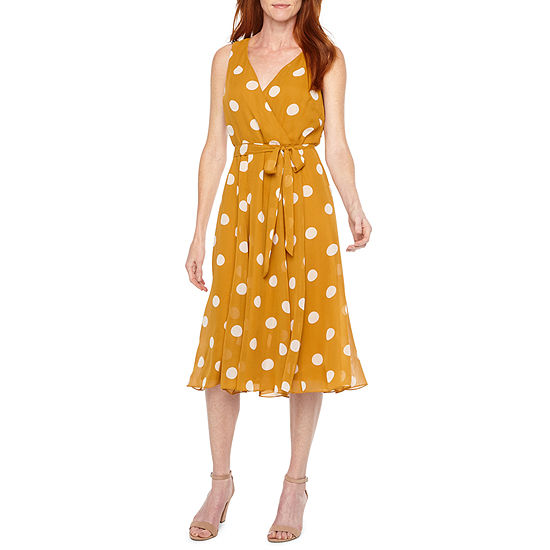 Liz Claiborne Sleeveless Polka Dot Fit Flare Dress