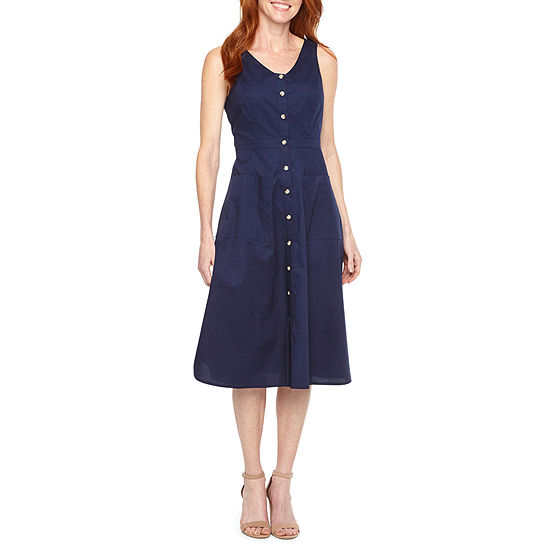 Liz Claiborne Sleeveless Midi Fit & Flare Dress
