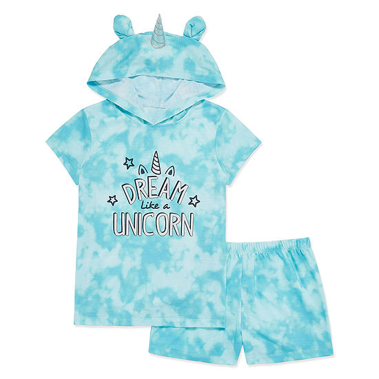 Peace Love And Dreams 2 Pc Shorts Pajama Set Big Kid Girls