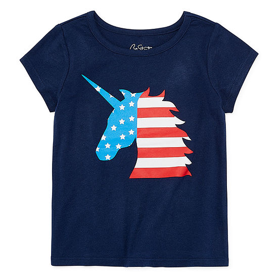 City Streets Girls Round Neck Short Sleeve Graphic T-Shirt-Toddler