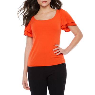 Bold Elements Womens U Neck Short Sleeve Blouse