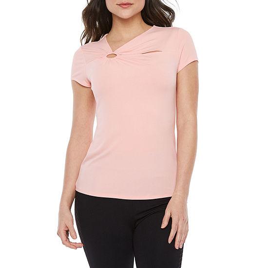 Bold Elements Womens Asymmetrical Neck Short Sleeve Blouse