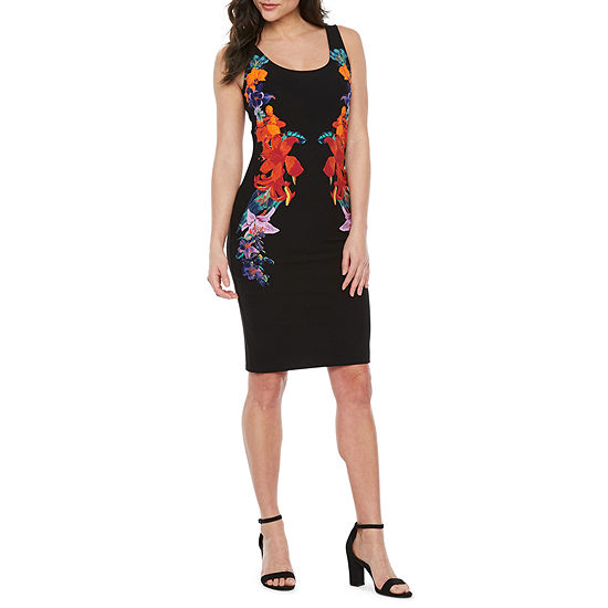 Bold Elements Sleeveless Floral Bodycon Dress