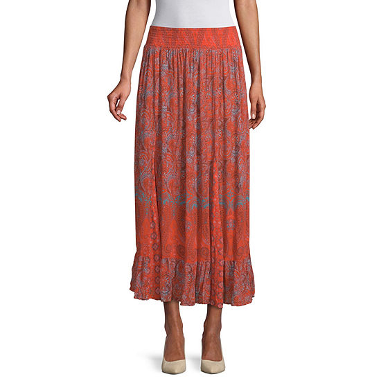 East 5th Womens Mid Rise Long Flared Skirt