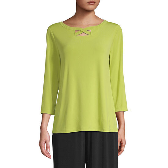 east 5th Womens Round Neck 3/4 Sleeve Knit Blouse