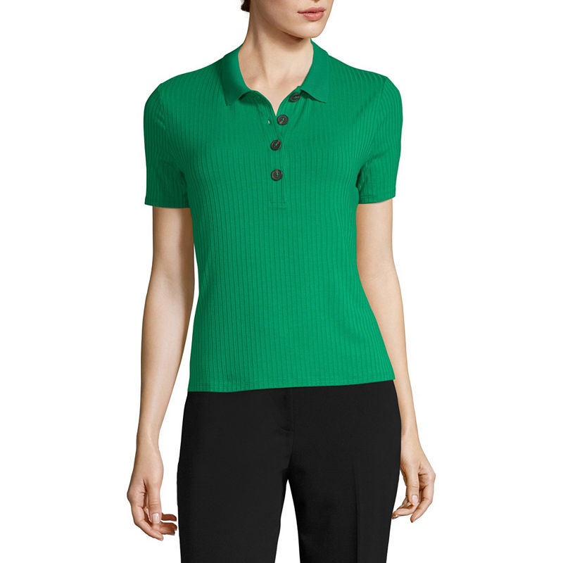 1930s Style Blouses, Shirts, Tops | Vintage Blouses Worthington Womens Short Sleeve Knit Polo Shirt Size Xx-large Green $10.19 AT vintagedancer.com