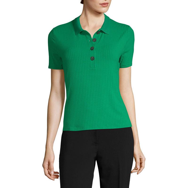Vintage Tops & Retro Shirts, Halter Tops, Blouses Worthington Womens Short Sleeve Knit Polo Shirt Size Xx-large Green $10.19 AT vintagedancer.com