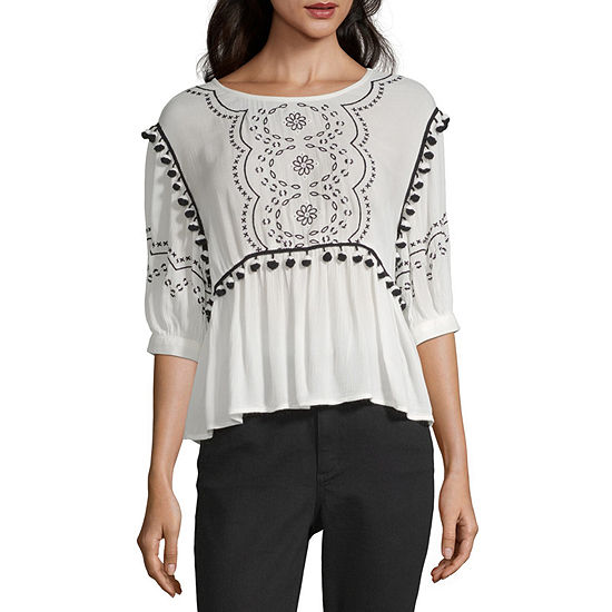 a.n.a Womens Round Neck 3/4 Sleeve Peasant Top
