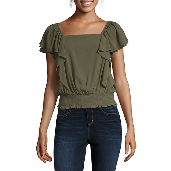 a.n.a Womens Square Neck Short Sleeve Blouse