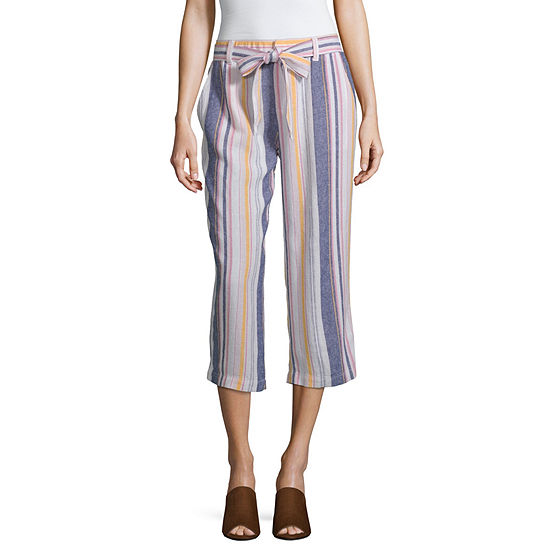 Liz Claiborne Belted Linen Cropped Pants