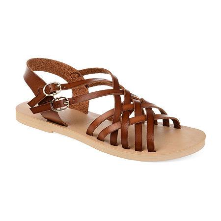 Vintage Sandals | Wedges, Espadrilles – 30s, 40s, 50s, 60s, 70s Journee Collection Womens Colby Ankle Strap Flat Sandals 9 Medium Brown $43.99 AT vintagedancer.com