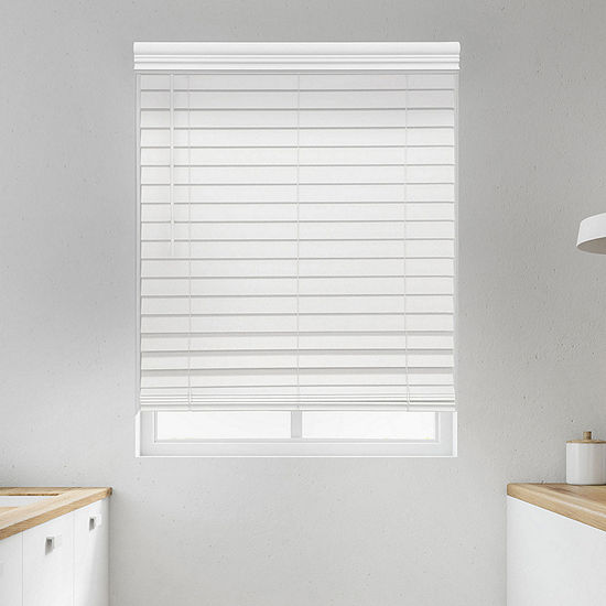 "JCPenney Home Premium 2 1/2"" Cut-to-Width Cordless Faux Wood Blinds"