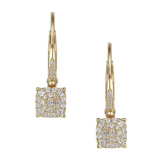1/3 CT. T.W. Genuine White Diamond 10K White Gold Drop Earrings